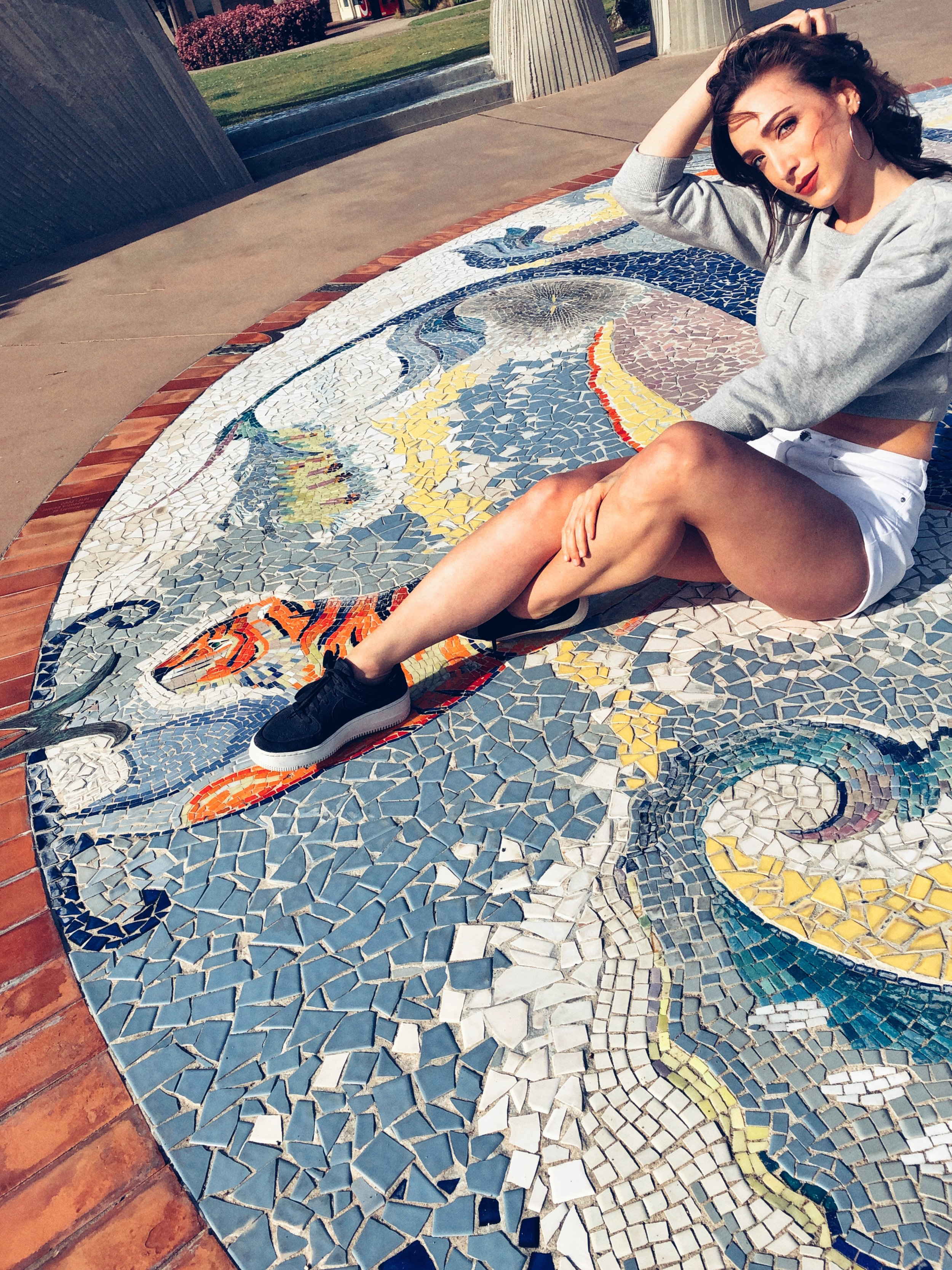 Nike Air Force 1 Sage Low and Guess Cropped Sweater. Mosaic on Shelter Island in San Diego, California.