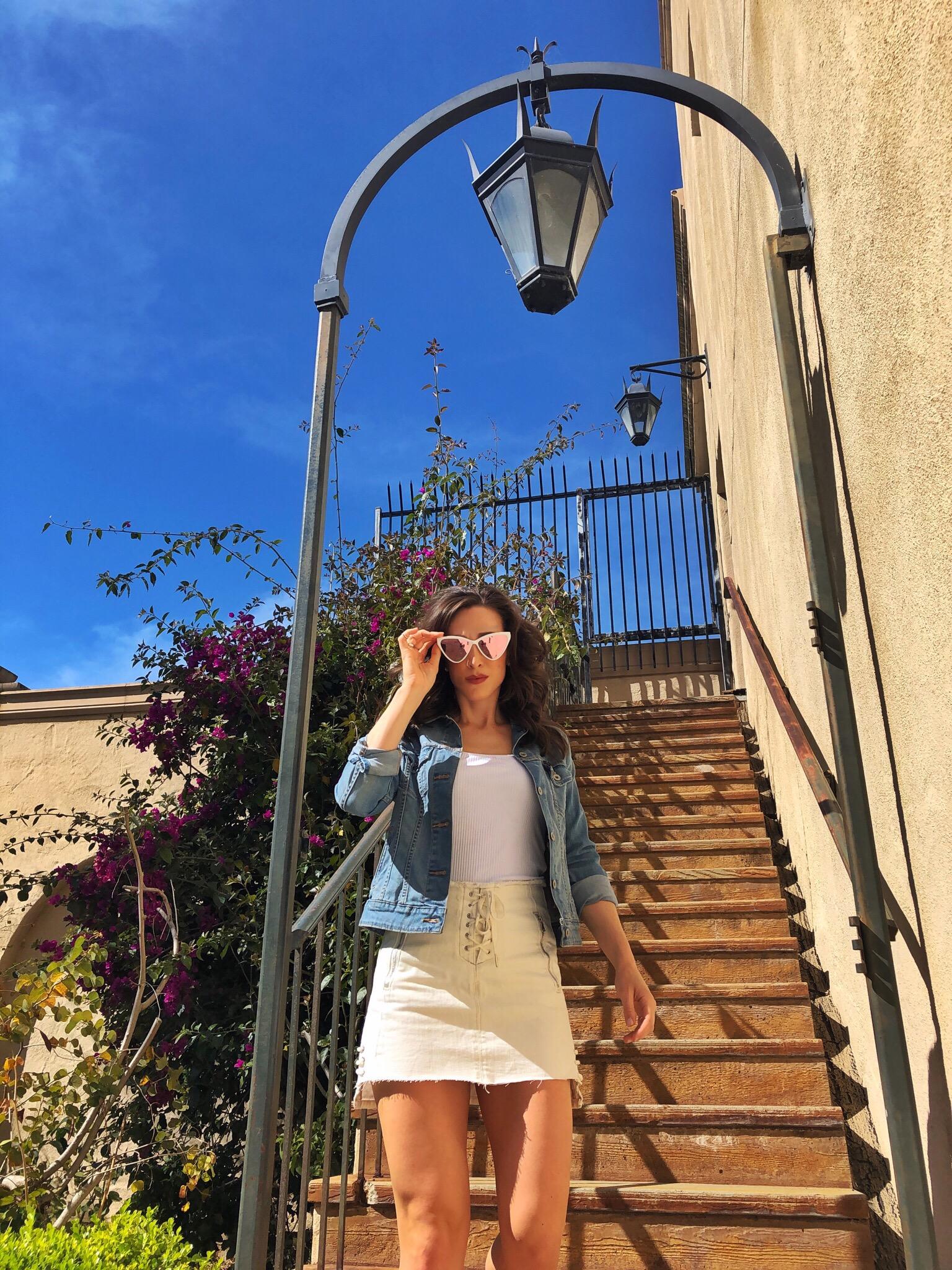 Steps to life. Balboa Park, San Diego. Blank NYC white jean skirt.