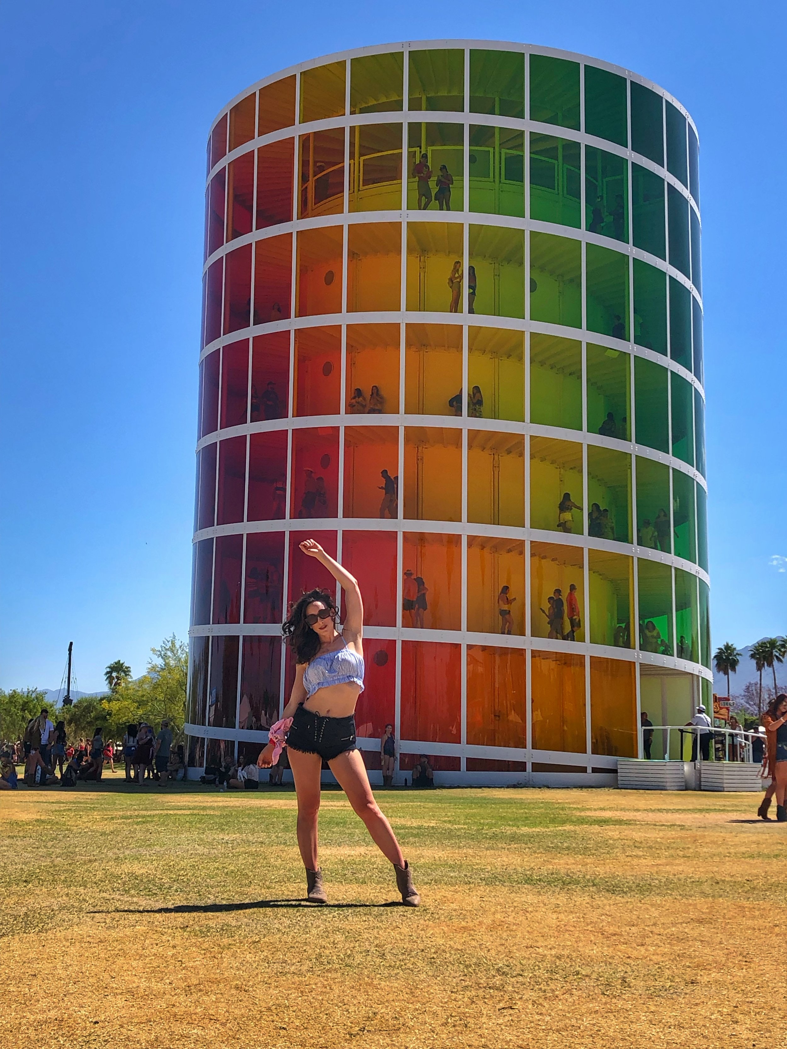 Stagecoach outfit. Colorful Coachella art installation