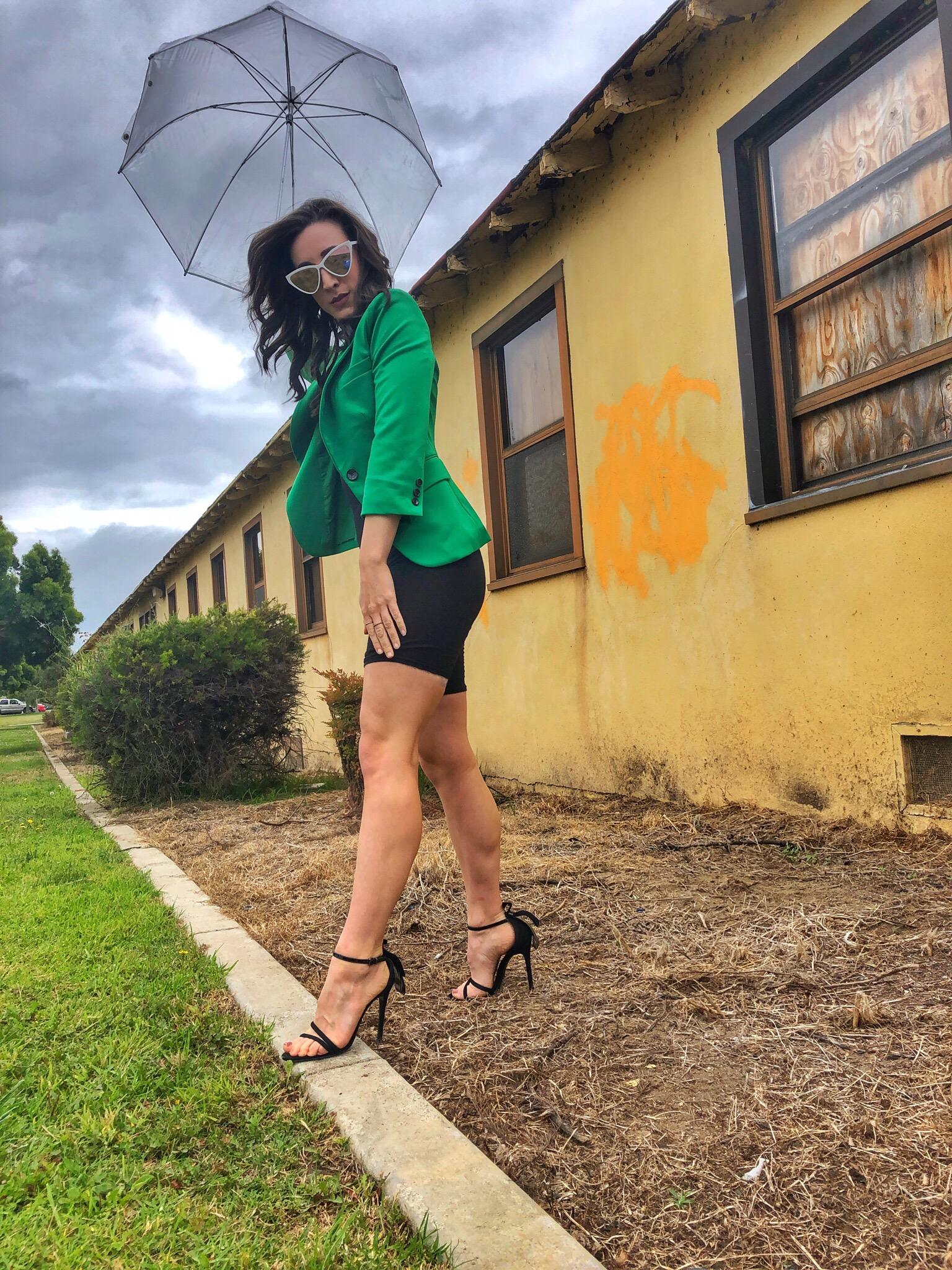 Totes Clear Umbrella. Green Blazer. Bike Shorts. Schutz heels. Point Loma, San Diego.