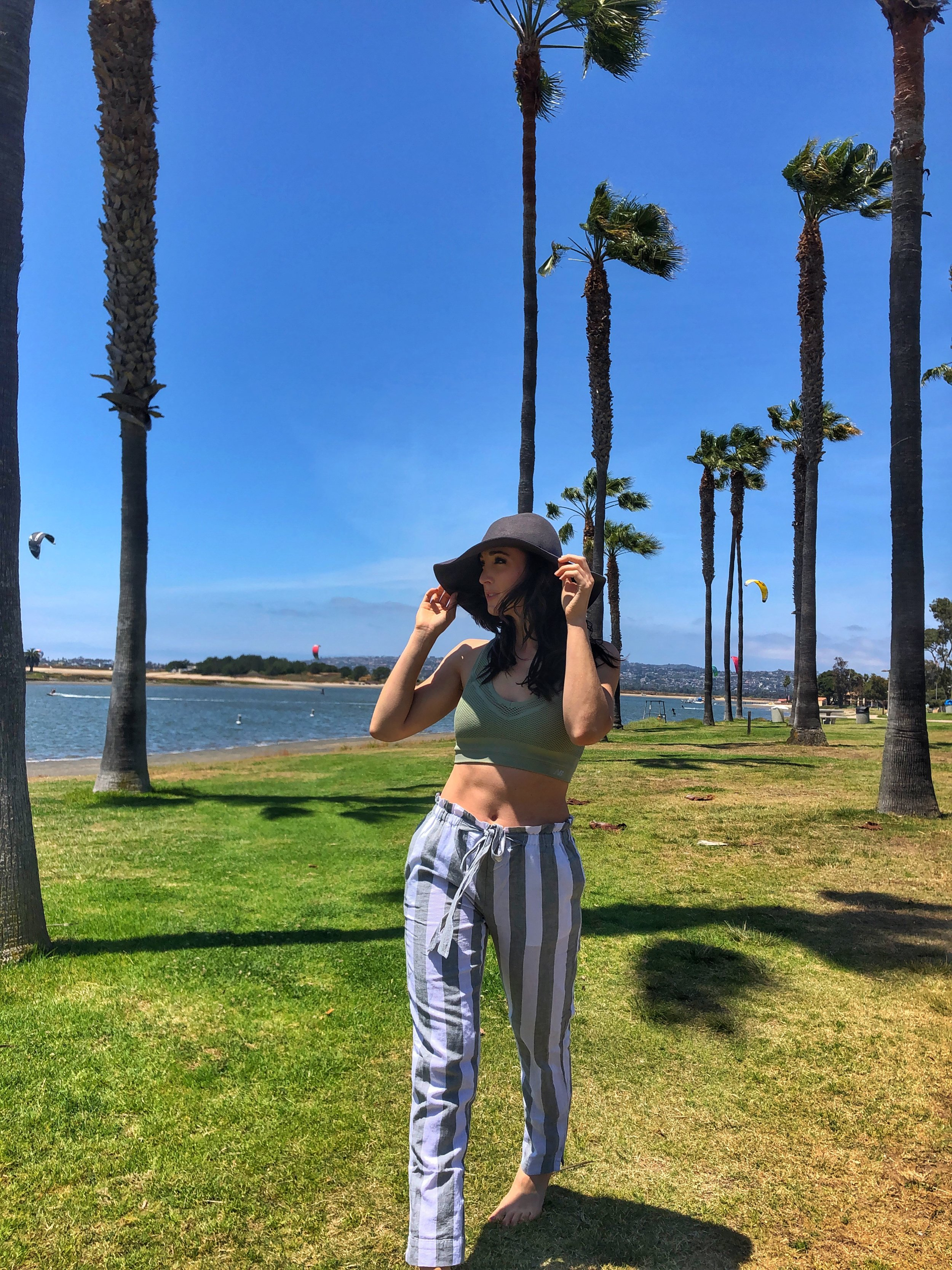 Mission Bay Park. Linen pants in San Diego.