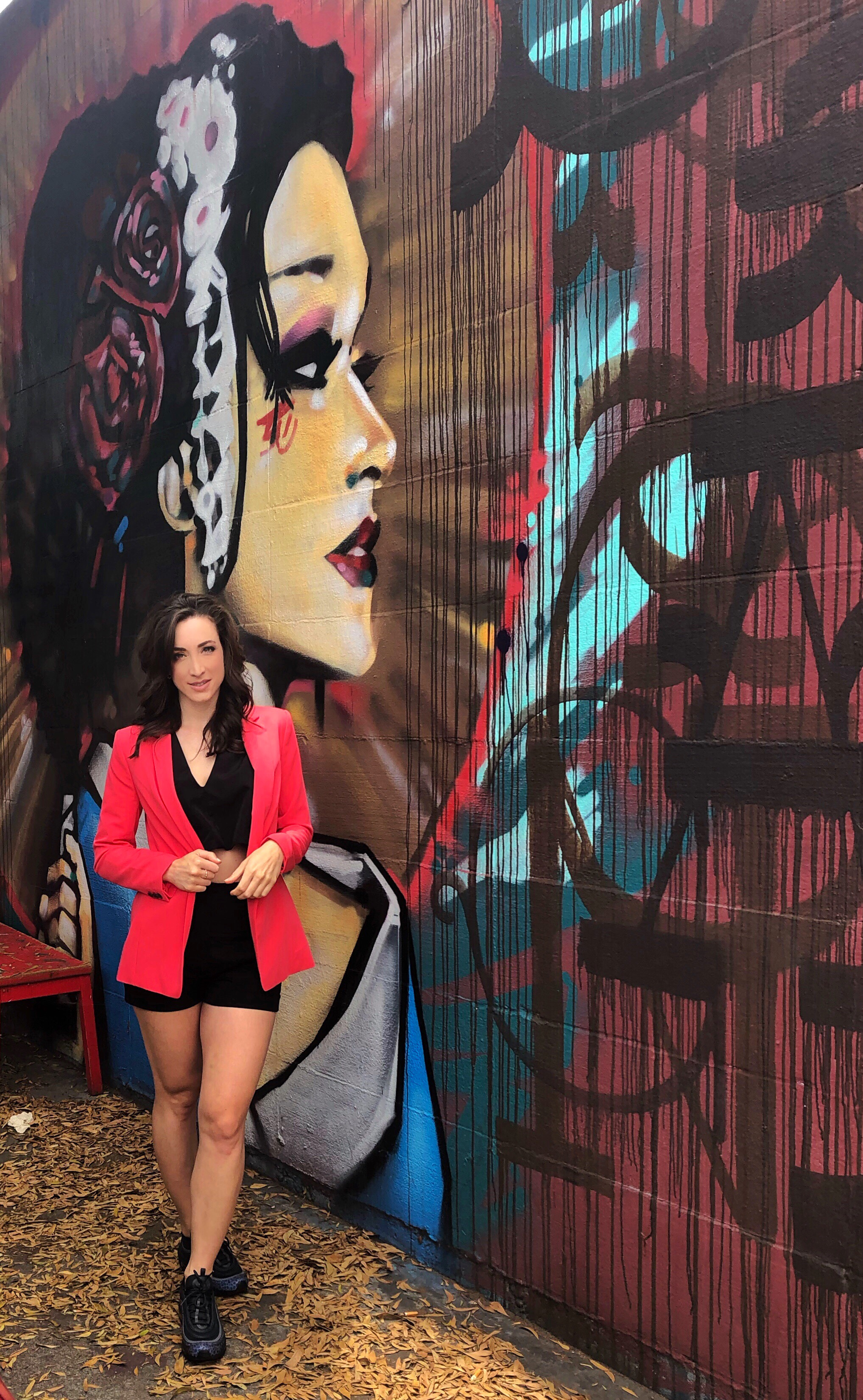 Worthington Coral Blazer from JCPenney. Air Max 97's in San Diego. Art Mural in Normal Heights, San Diego, California.