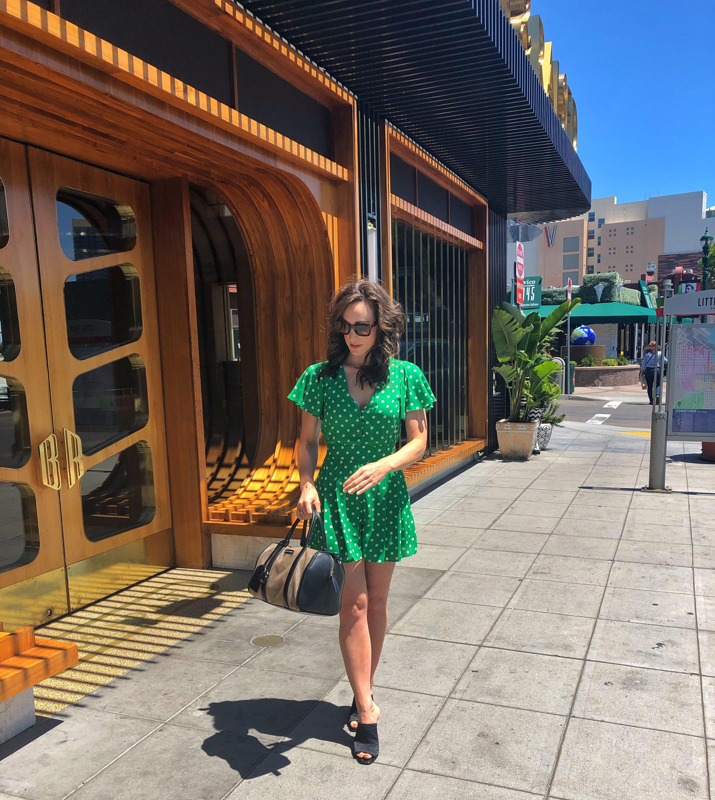 Born & Raised San Diego. BCBGeneration Mules. ZARA green polka dot romper or jumpsuit.
