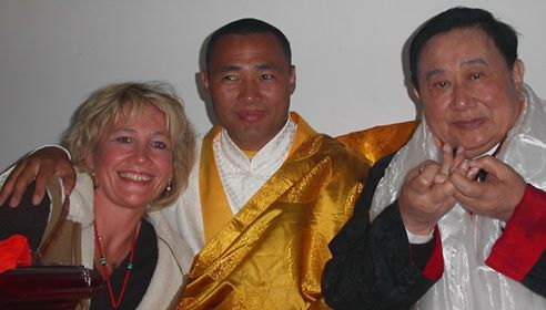 H.H. Lin Yun Rinpoche & H.H. ChongBa - and Martine in Yunnan, China, 2007 (from right to left)