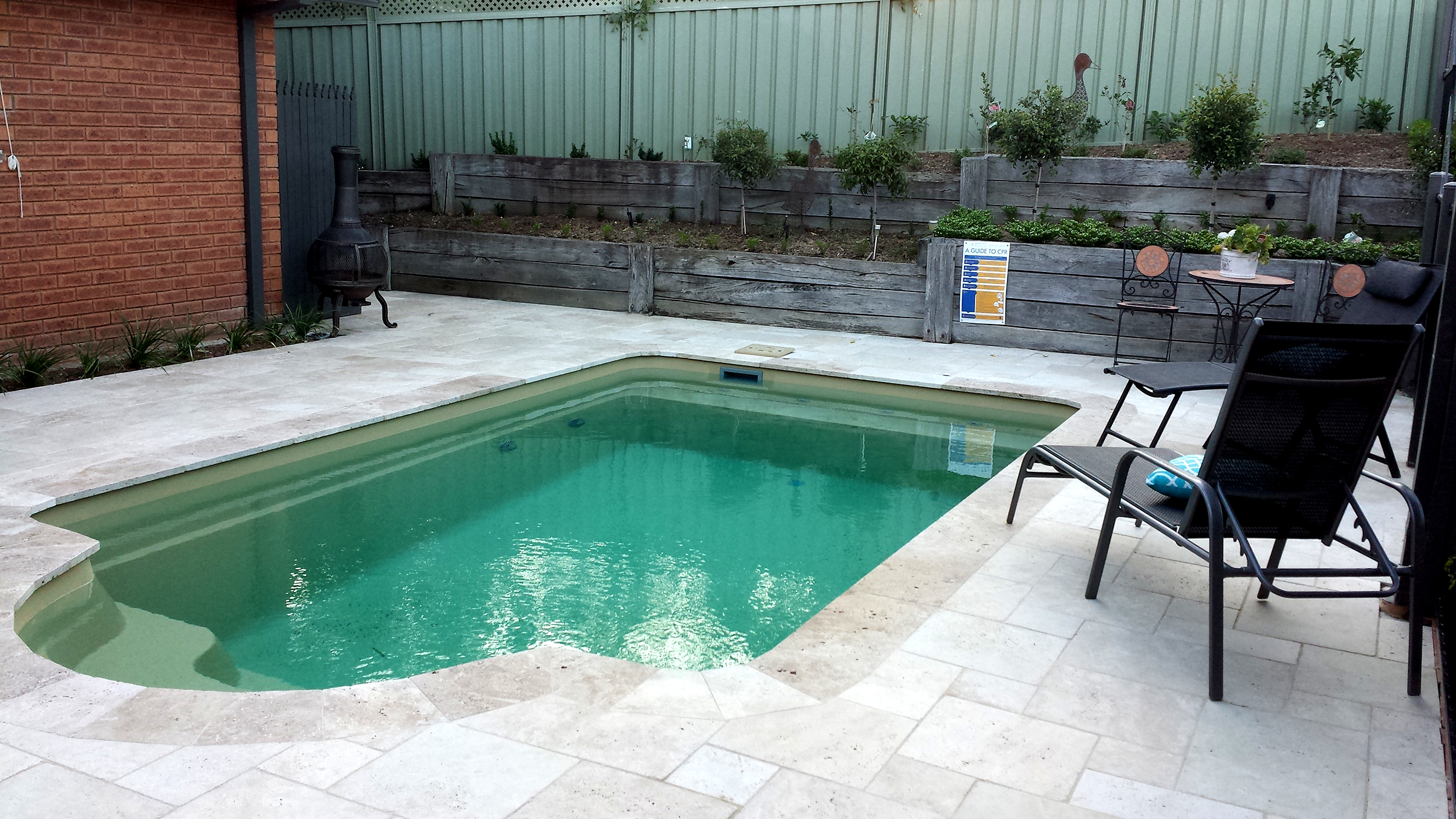 Unfilled Ivory Travertine in Pool Area