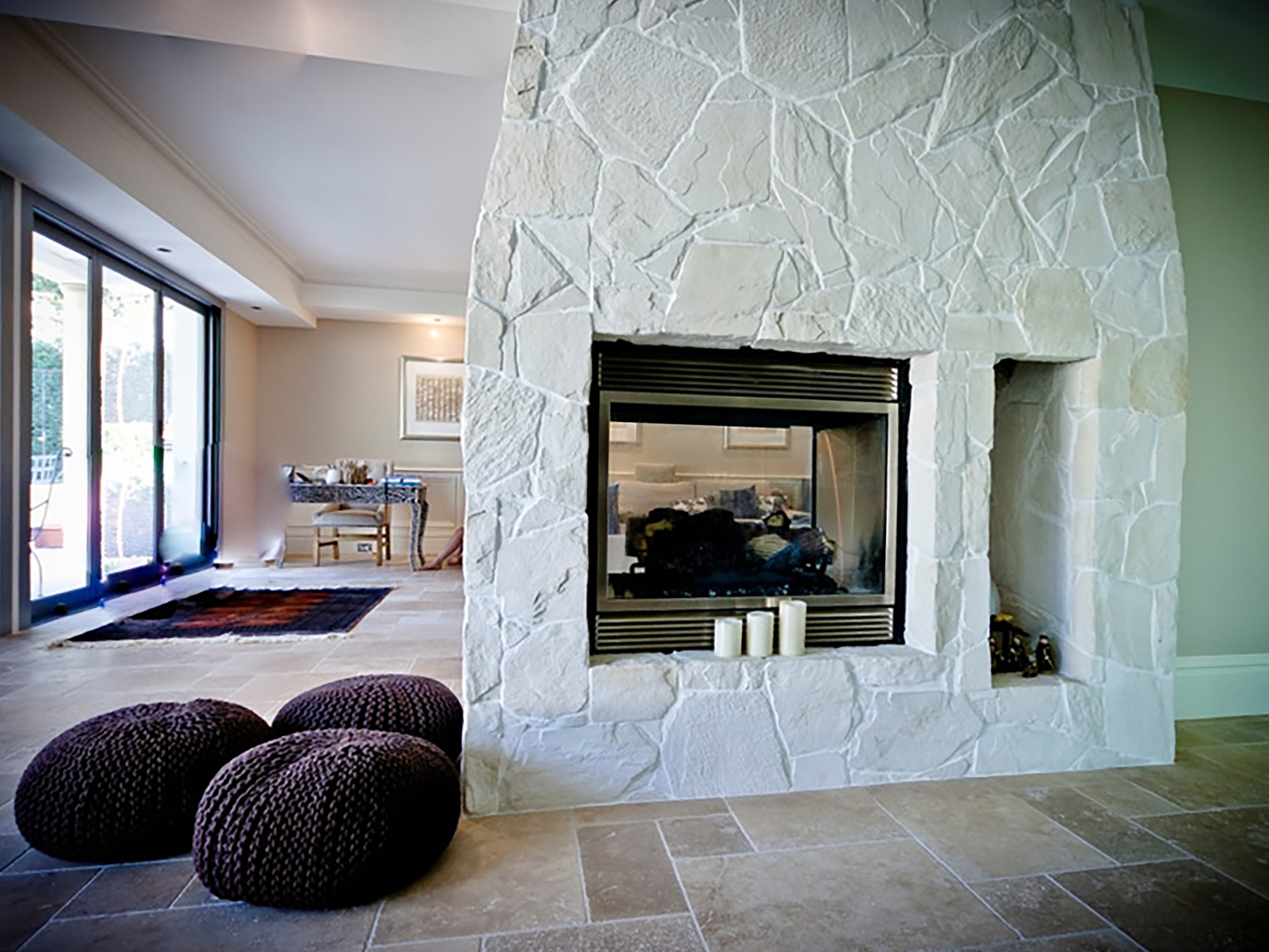 Arctic Limestone Veneer Fireplace