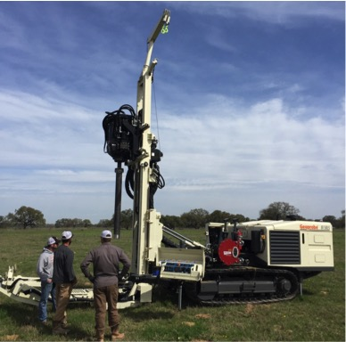 Oklahoma Frac Sand Coring. Track-mounted Geoprobe sonic coring rig.