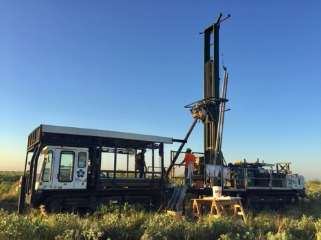 Permian Frac Sand Coring. Track-mounted sonic coring rig.