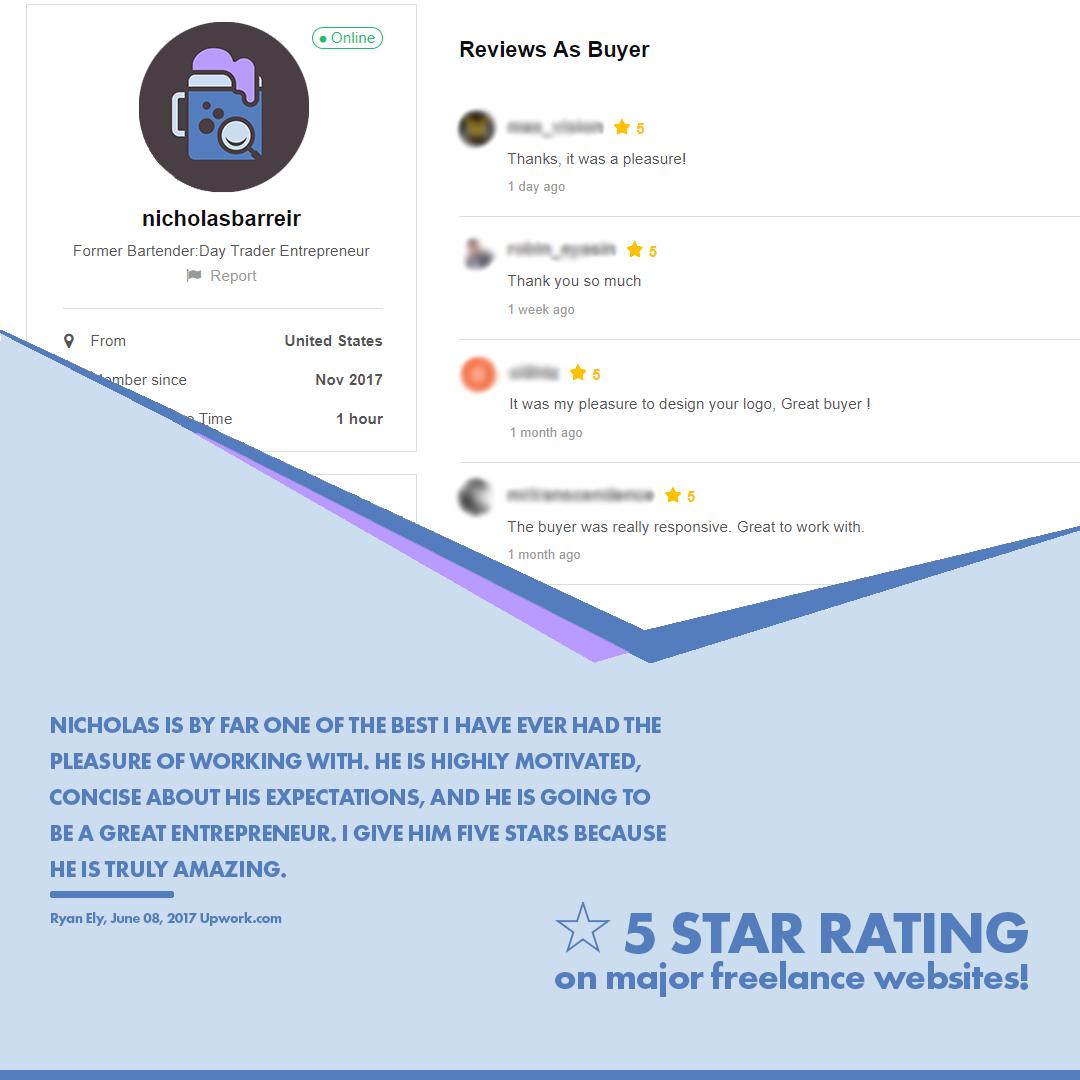 NicholasBarreiro.com 5 star reviews from real customers and designers on upwork.com and fiverr.com