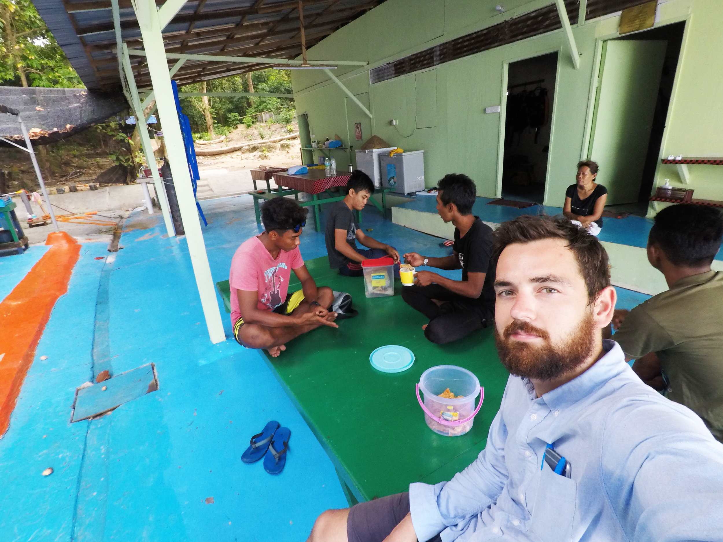 The three marine biologists, my guides and I in the basic shared eating space.