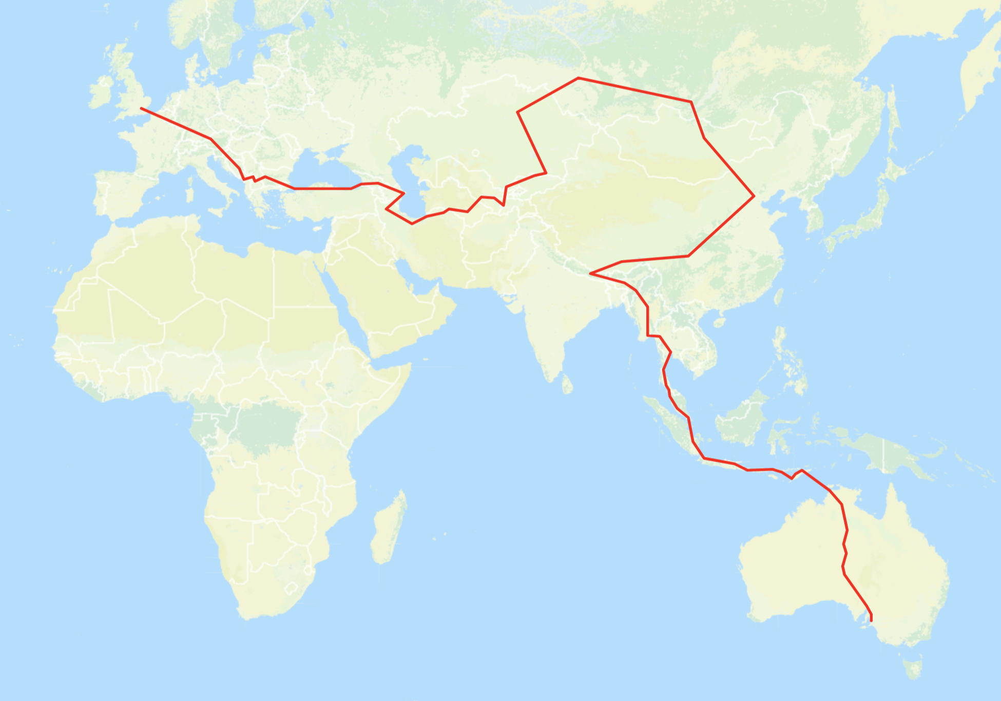 Proposed route as of January 2018.  Click here for my current location.