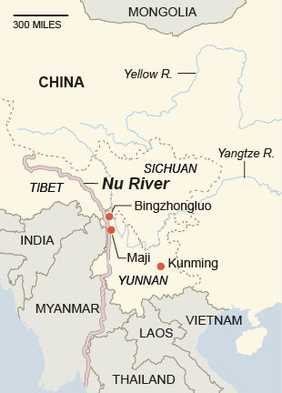 Nujiang Map - Source: New York Times