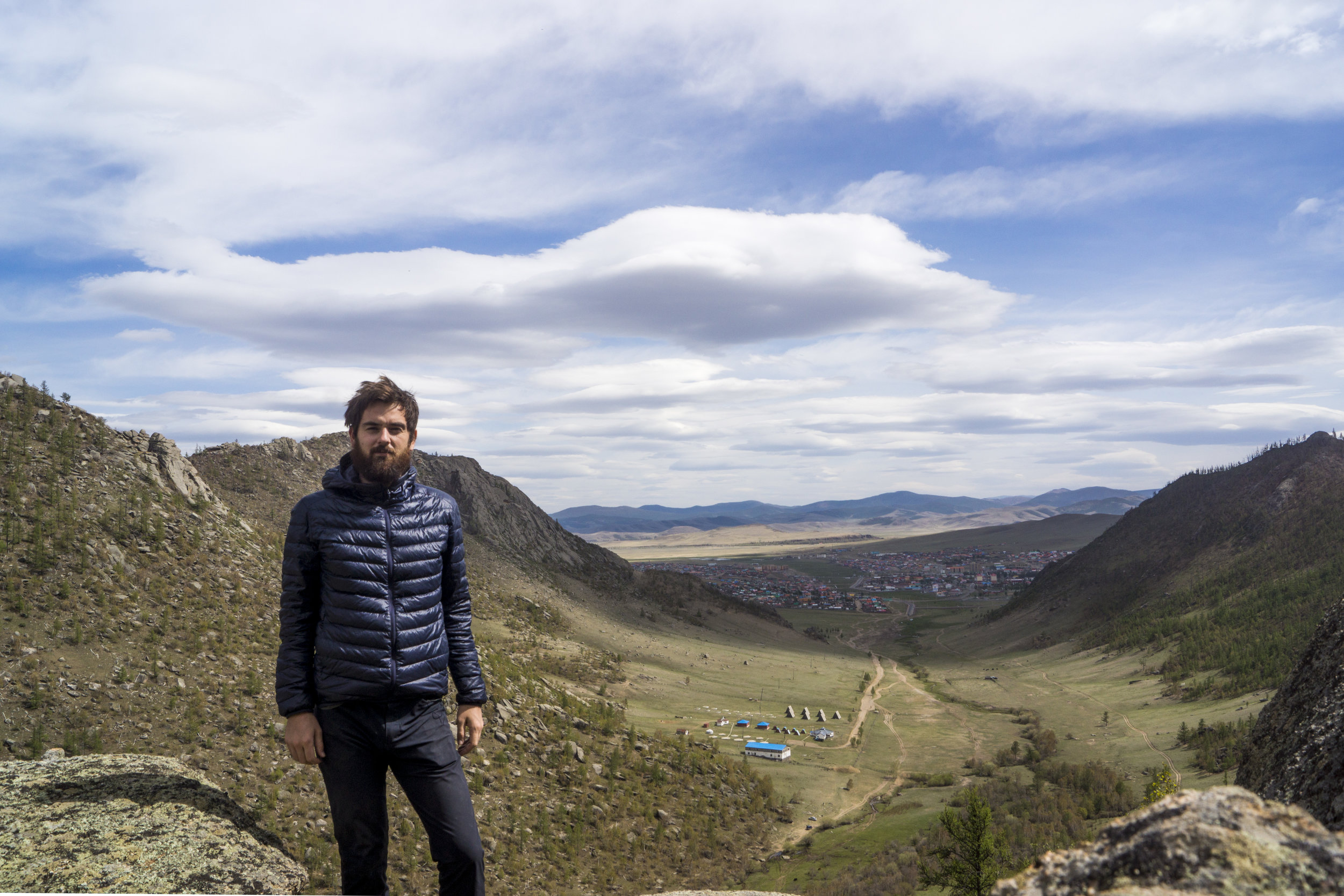 Standing atop a hill in the national park nearest Tsetserleg. Town in the background.