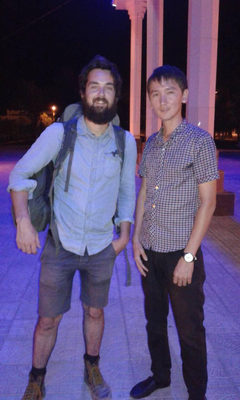 With a friend of Nursaltan's in Nukus. Taken at about 1am.