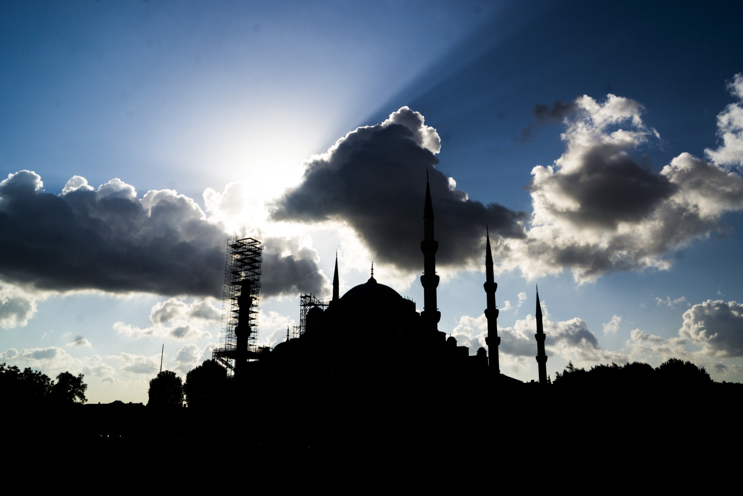The Blue Mosque casts its striking silhouette.
