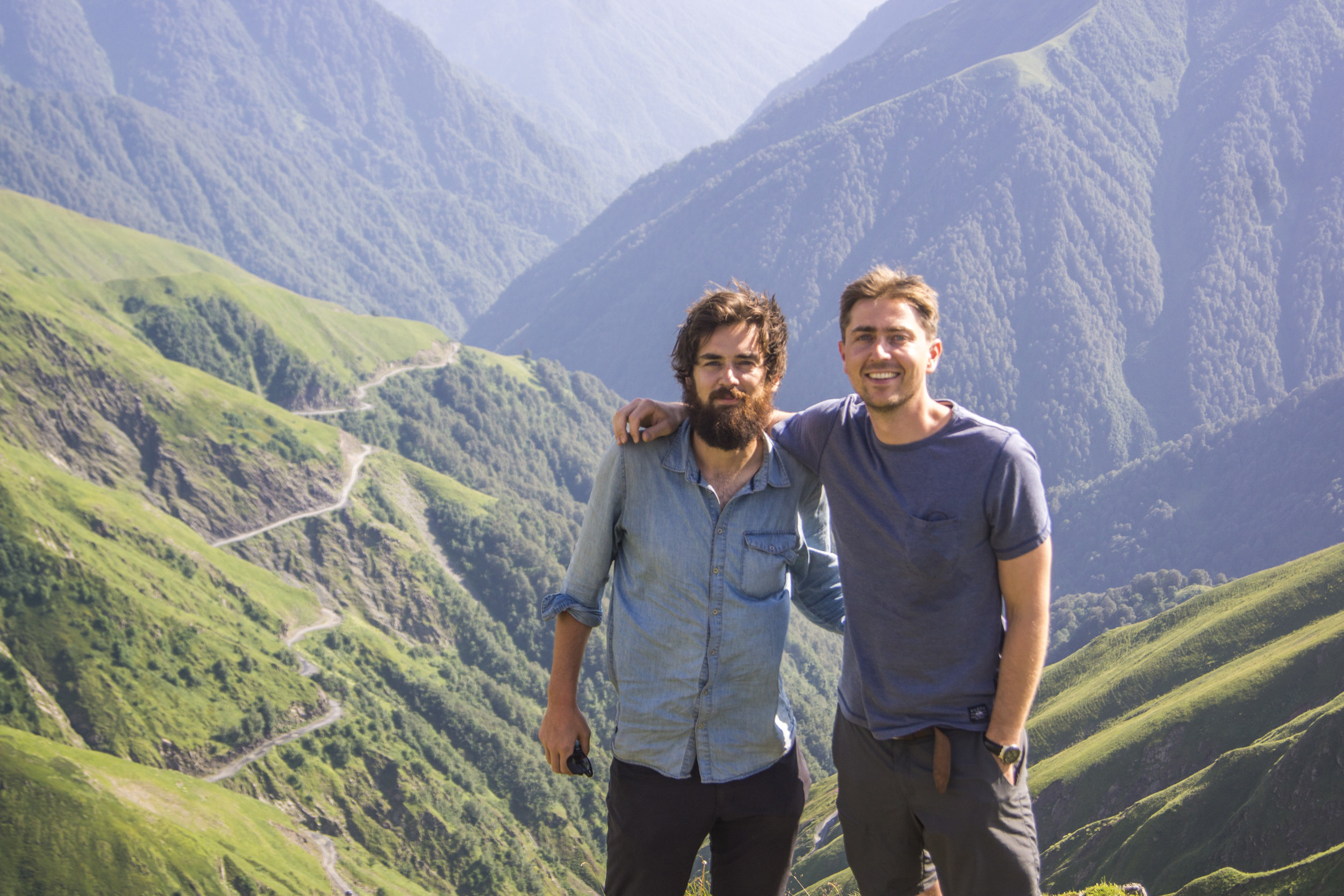 With Angus in Georgia:  My brother came to visit along the way, joining me for a 76 kilometer trek in the Georgian Highlands. It was on this hike I was saved by the Germans.