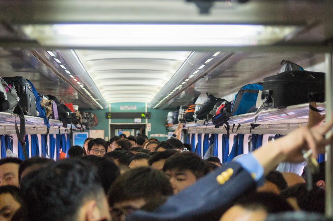 Xi'an, China:  This was a typical commute in China. The slow train from Xi'an to Beijing.