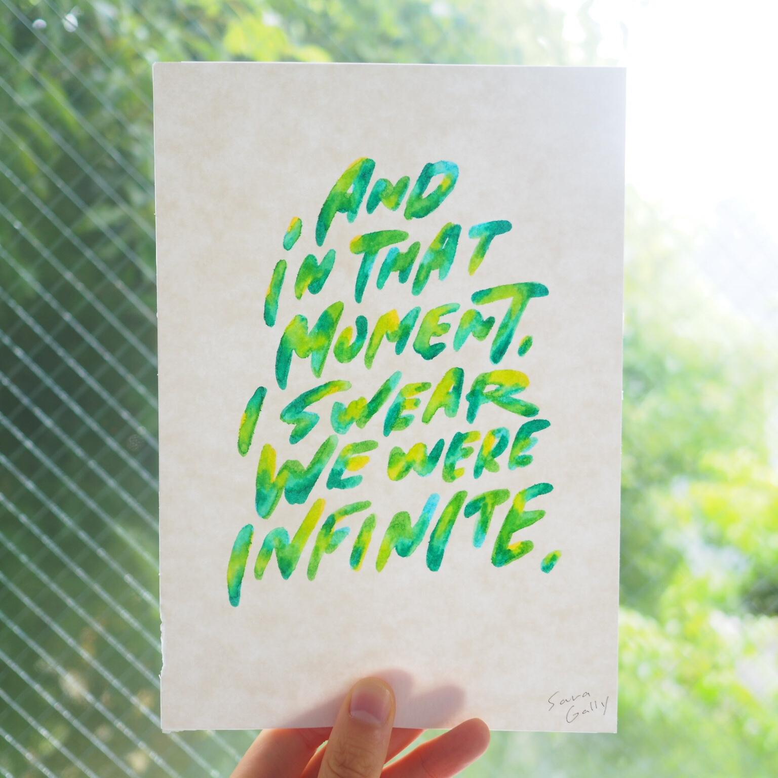 """小説「ウォールフラワー」で主人公が言う言葉「そしてその瞬間、僕らは間違いなく無限だった」を描きました。 This is a quote from a novel """"Wallflower""""."""