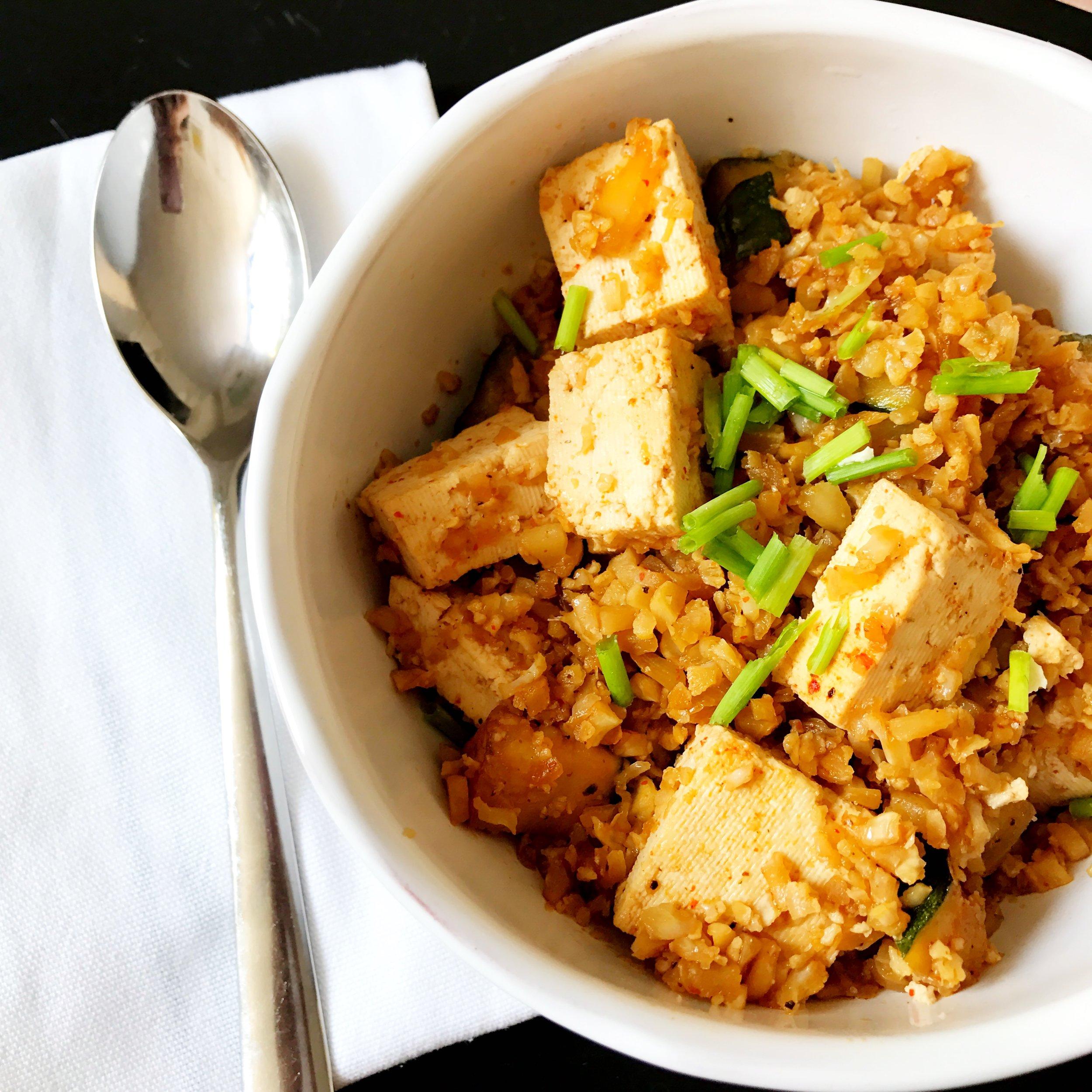 Vegan Cauliflower Fried Rice (Veggies and Tofu)