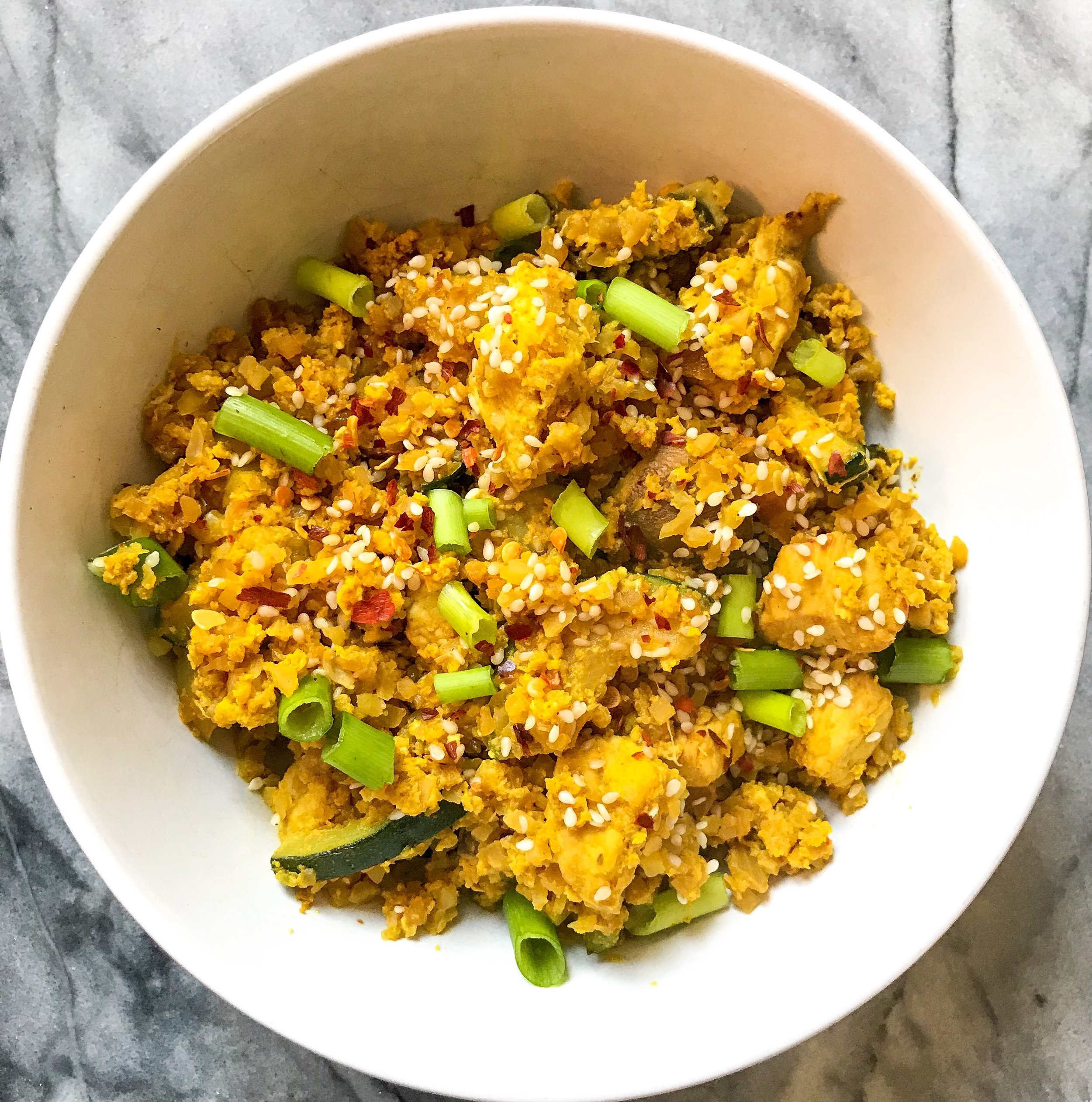 Veggie + Chicken + Egg Cauliflower Fried Rice