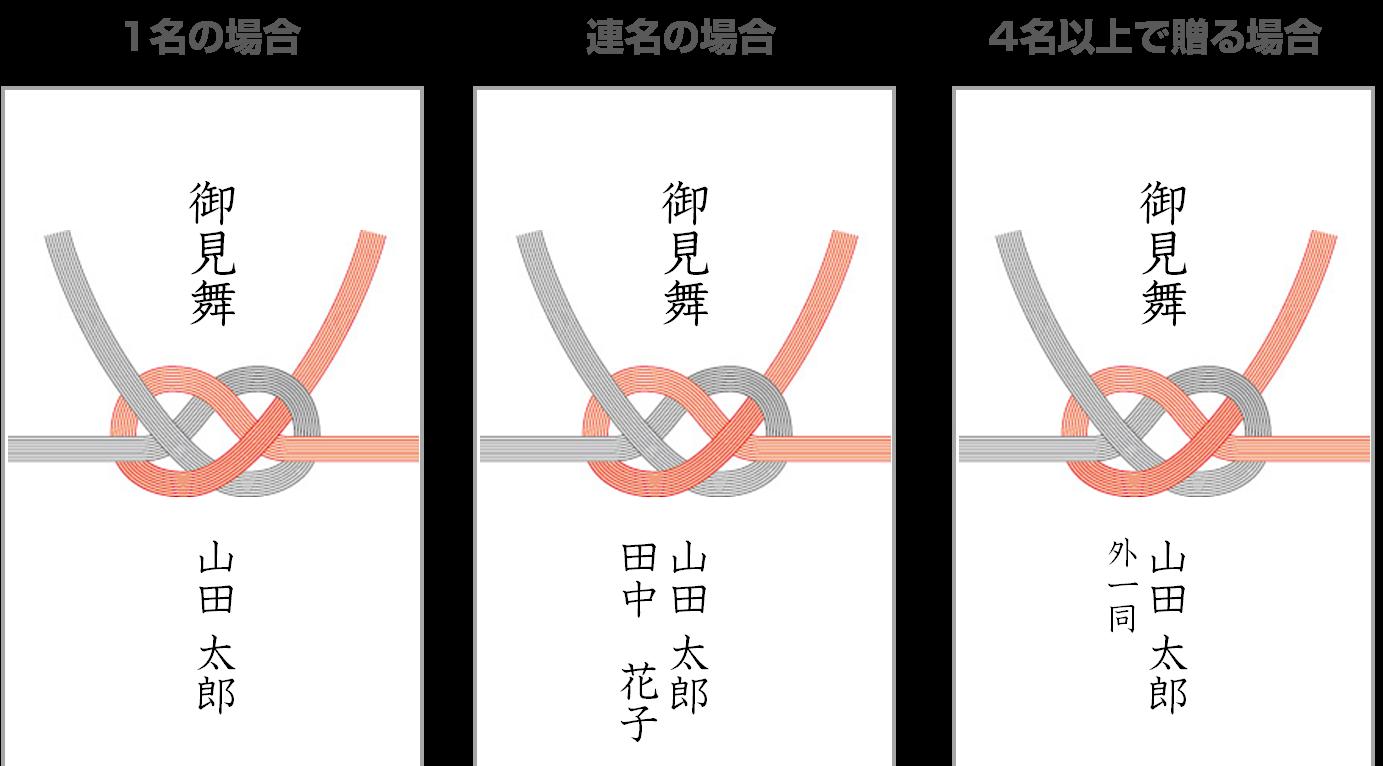 De bushugi bukuro enveloppen hebben een kenmerkende strik.