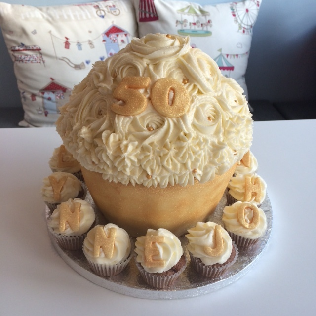 Golden Wedding Giant Cupcake.JPG