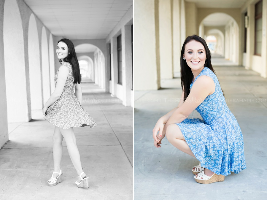 Senior photo in Tampa twirling in a dress downtown