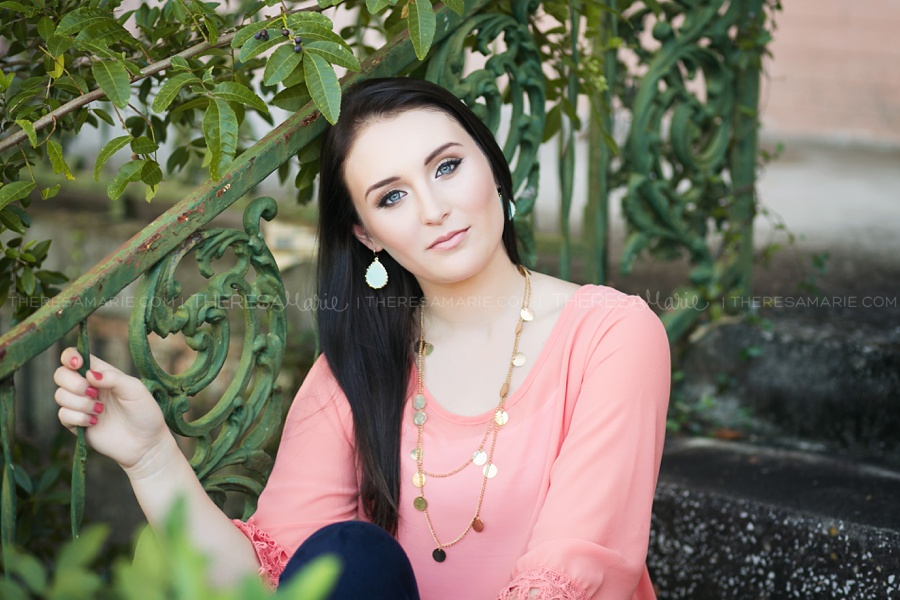 Editorial style senior photo in Tampa Florida with Theresa Marie senior photographer