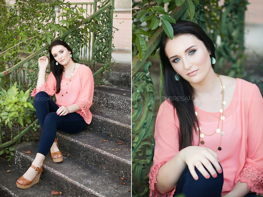 senior photo near architecture on steps in tampa