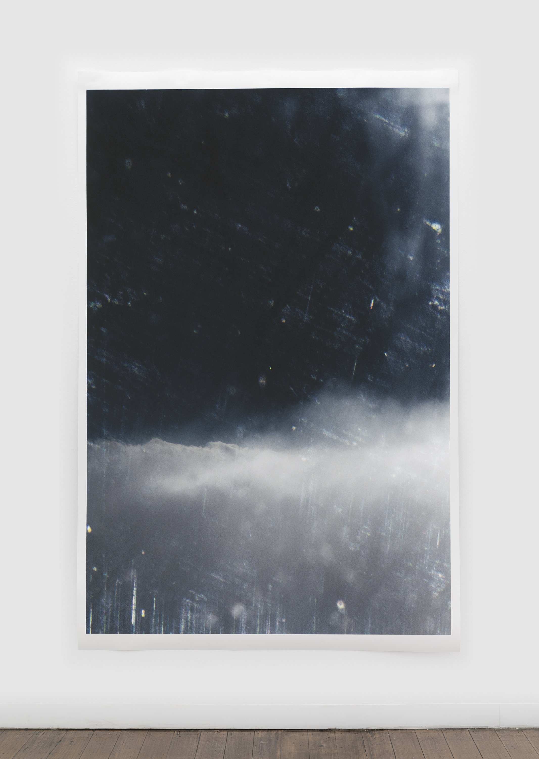 "Untitled (glass, sky) , pigment print on paper, sheet: 229.6 × 150.5 cm (90 3/8 × 59 1/4 in), framed: 240.5 × 160.9 cm (94 6/8 × 63 3/8 in), 2019  Installation view of ""the sacredness of something"" at Arc One Gallery, Melbourne (2019)"