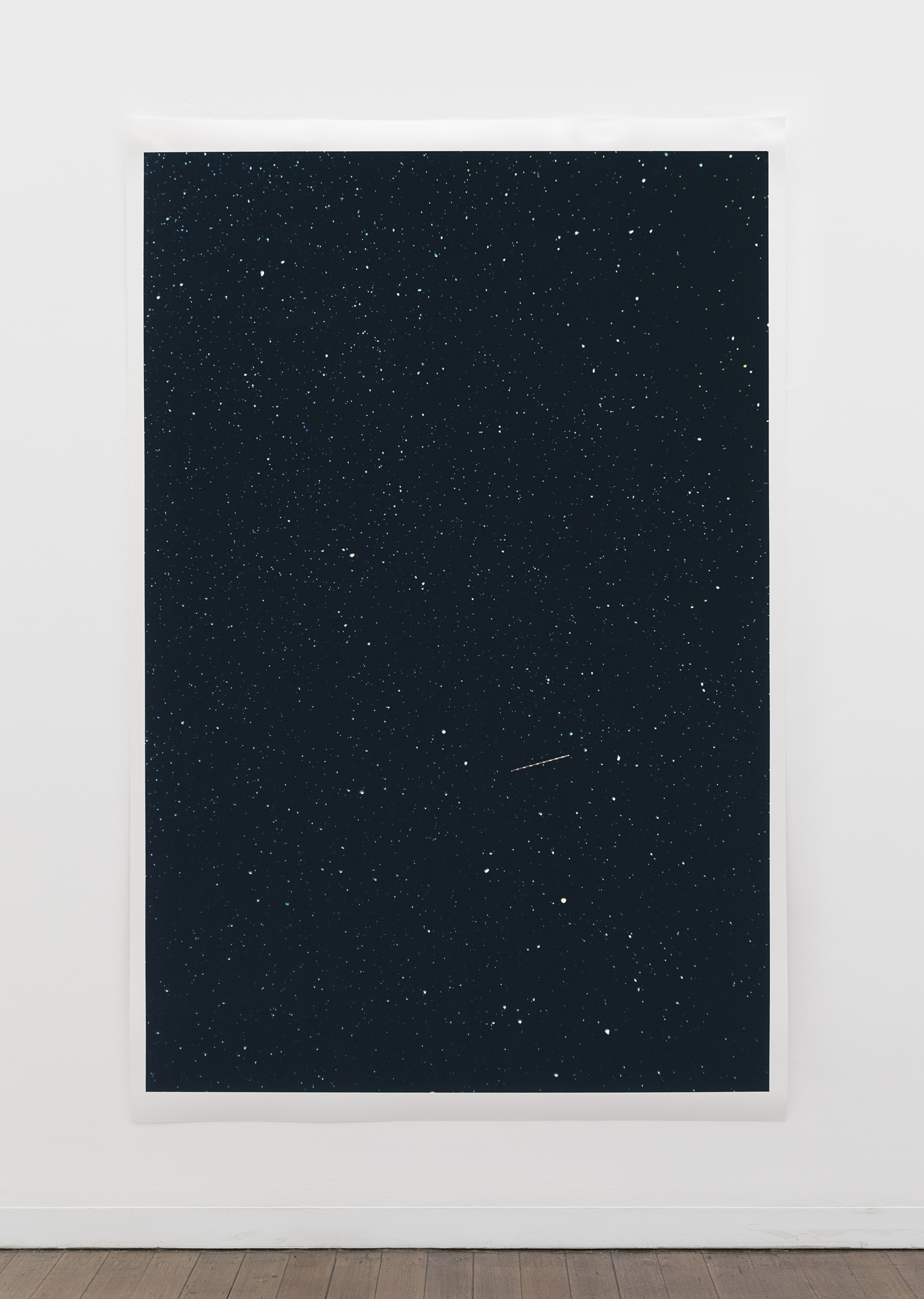 "Untitled (navigation lights, stars / 13 seconds)  ,  pigment print on paper, sheet: 229.6 × 150.5 cm (90 3/8 × 59 1/4 in), framed: 240.5 × 160.9 cm (94 6/8 × 63 3/8 in), 2019  Installation view of ""the sacredness of something"" at Arc One Gallery, Melbourne (2019)"