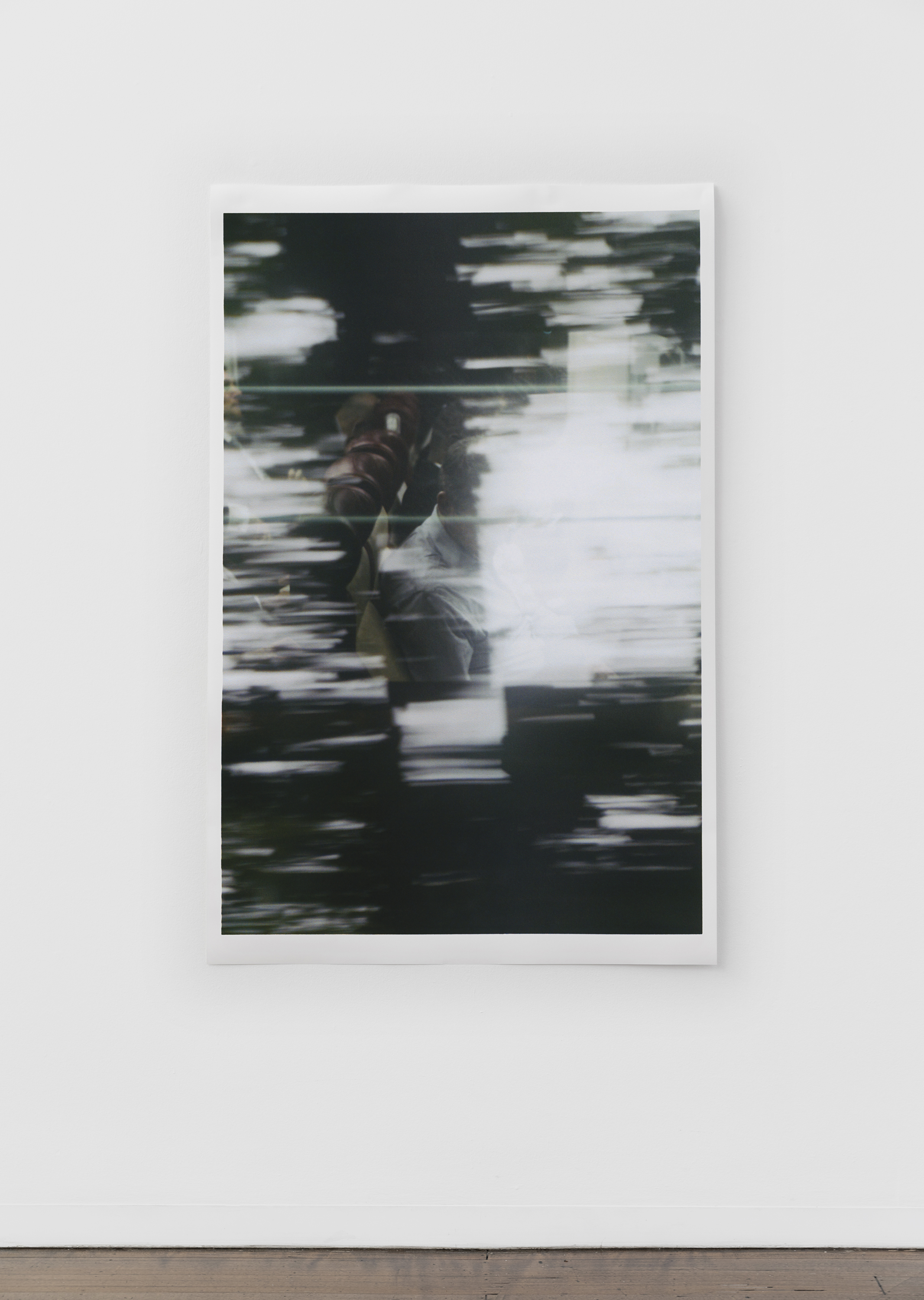 "Untitled (figure, glass, landscape) , pigment print on paper, sheet: 168 × 110 cm (66 1/8 × 43 1/4 in), framed: 178.9 × 120.2 cm (70 1/2 × 47 3/8 in), 2019  Installation view of ""the sacredness of something"" at Arc One Gallery, Melbourne (2019)"