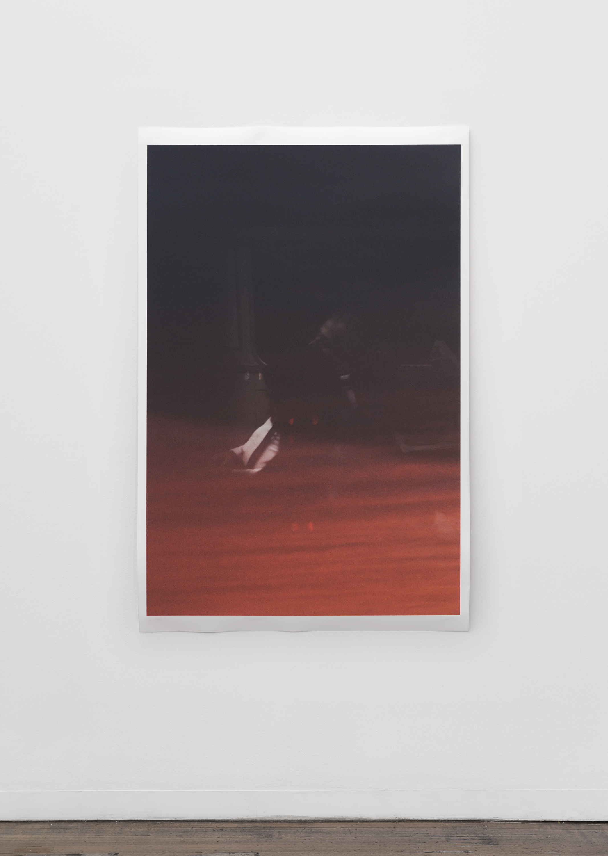 "Untitled (figure, glass, sky) , pigment print on paper, sheet: 168 × 110 cm (66 1/8 × 43 1/4 in), framed: 178.9 × 120.2 cm (70 1/2 × 47 3/8 in), 2019  Installation view of ""the sacredness of something"" at Arc One Gallery, Melbourne (2019)"
