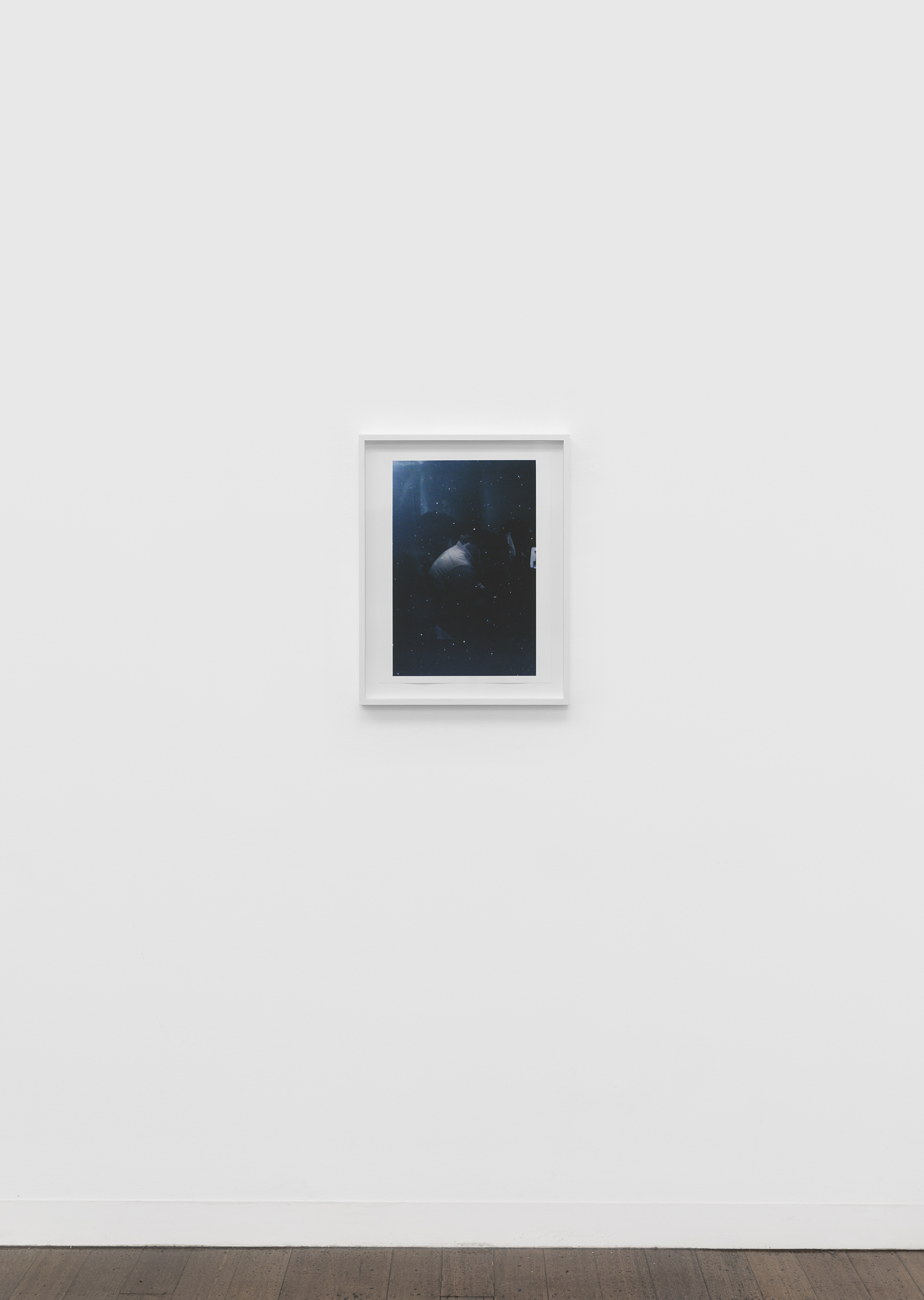 "Untitled (figure, glass, stars) , pigment print on paper, sheet: 48.8 × 36.7 cm (19 1/4 × 14 1/2 in), framed: 56.3 × 47.1 cm (22 1/8 × 18 1/2 in), 2019  Installation view of ""the sacredness of something"" at Arc One Gallery, Melbourne (2019)"