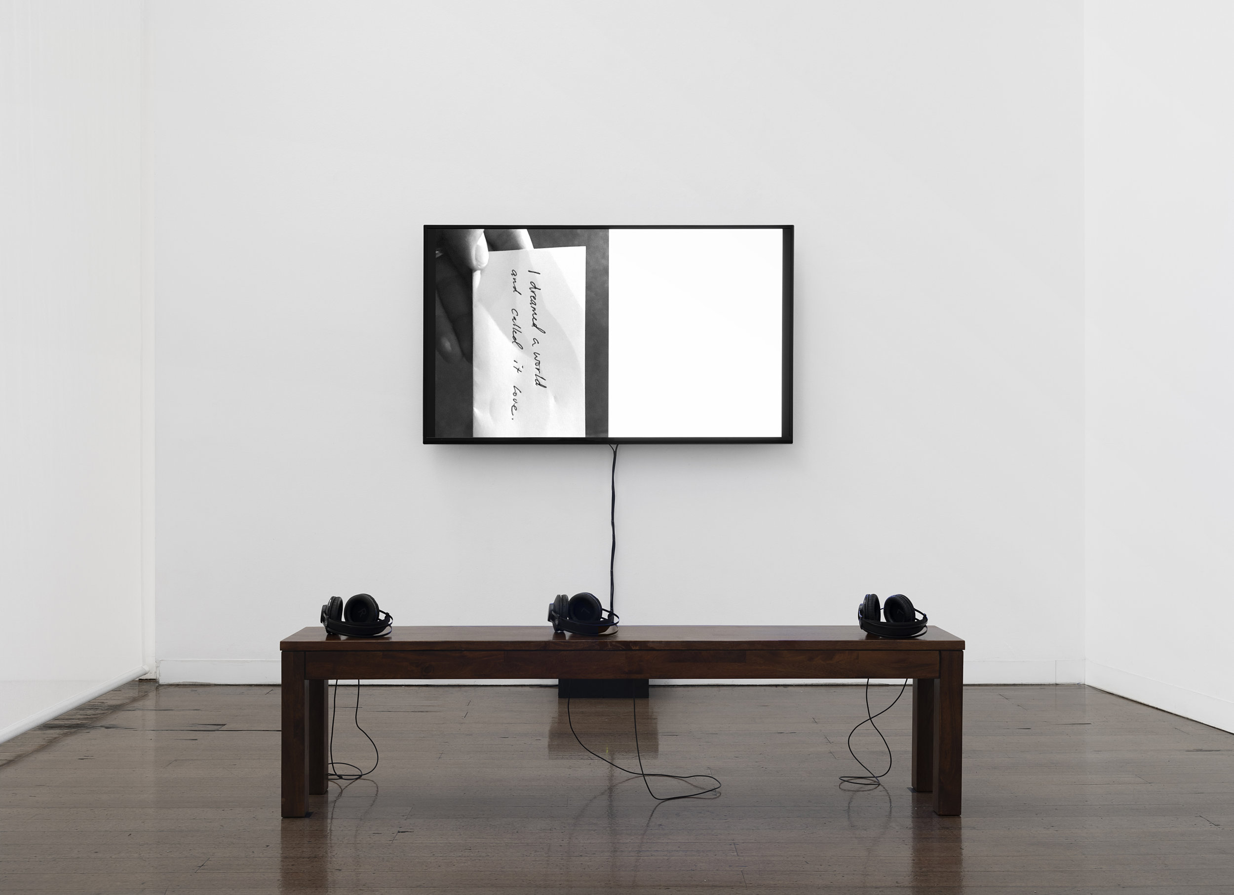 "Book I (05.19 / Both Sides, Now) , single-channel black-and-white video, duration variable, dimensions variable, 2019–  Installation view of ""the sacredness of something"" at Arc One Gallery, Melbourne (2019)  [ VIMEO ]"