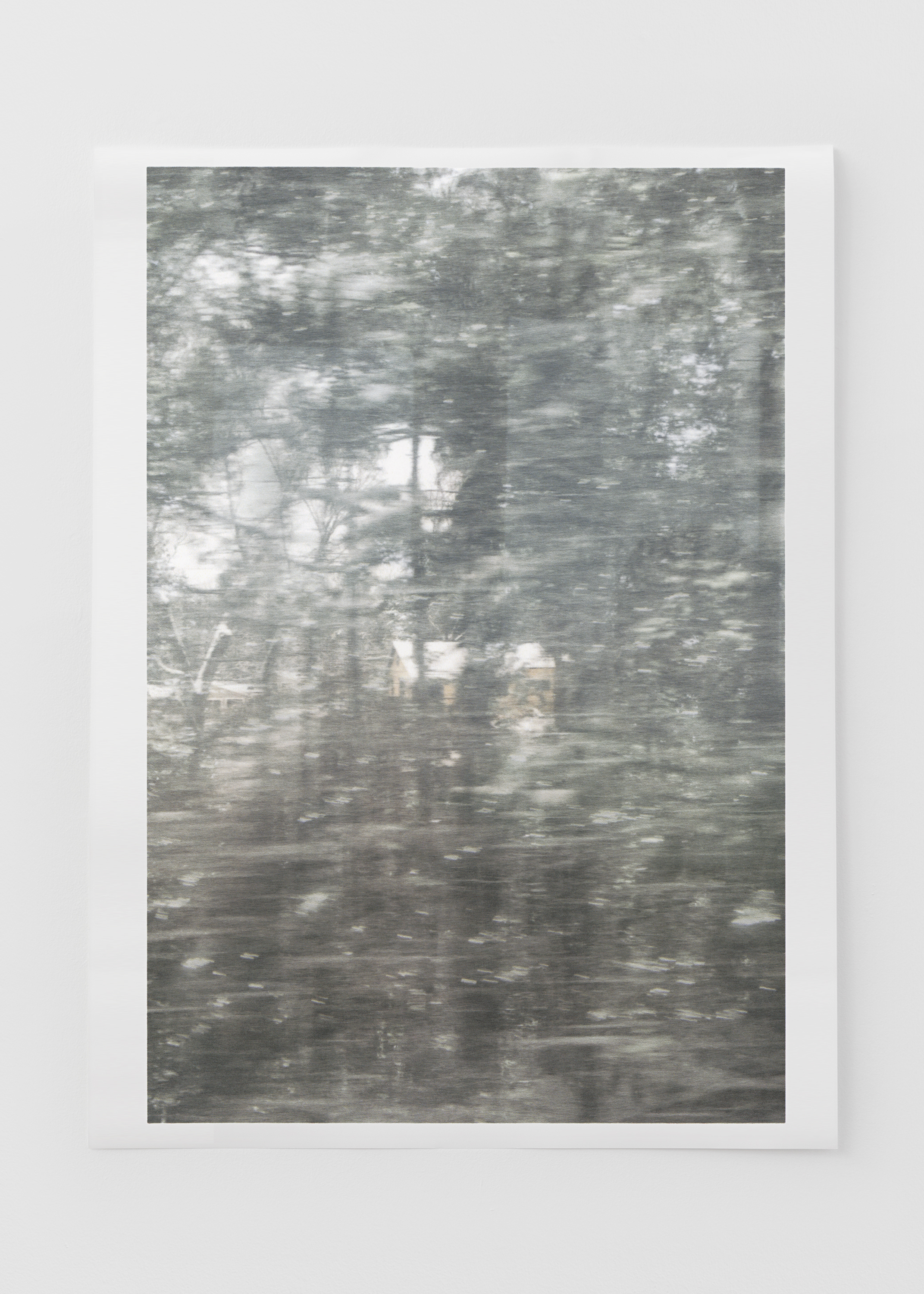 "Untitled (glass, forest, house) , pigment print on paper, sheet: 98.1 × 72 cm (38 5/8 × 28 3/8 in), framed: 109 × 82.4 cm (42 7/8 × 32 1/2 in), 2019  Installation view of ""the sacredness of something"" at Arc One Gallery, Melbourne (2019)"