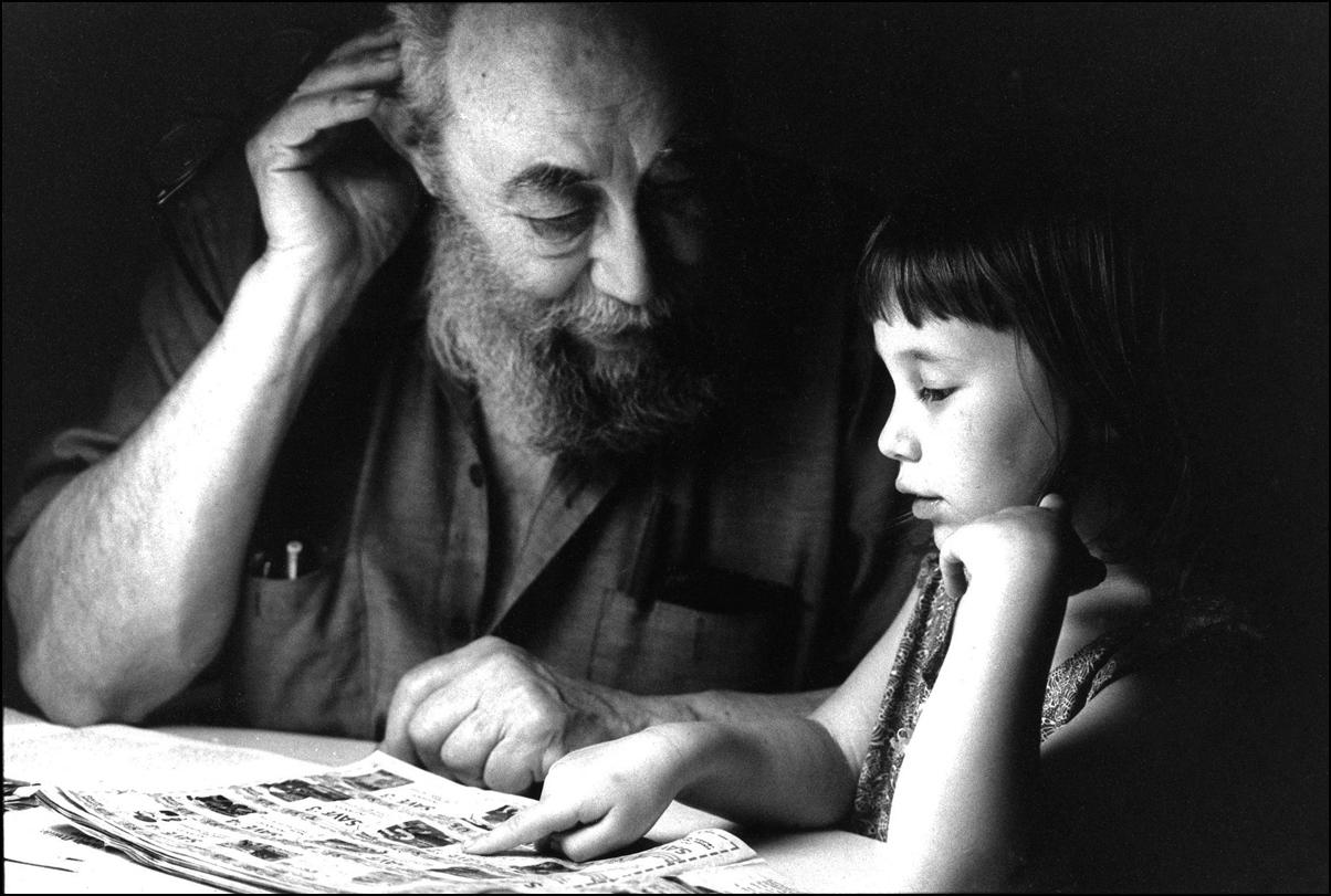 With Granddaughter, Zora, at Torah Study