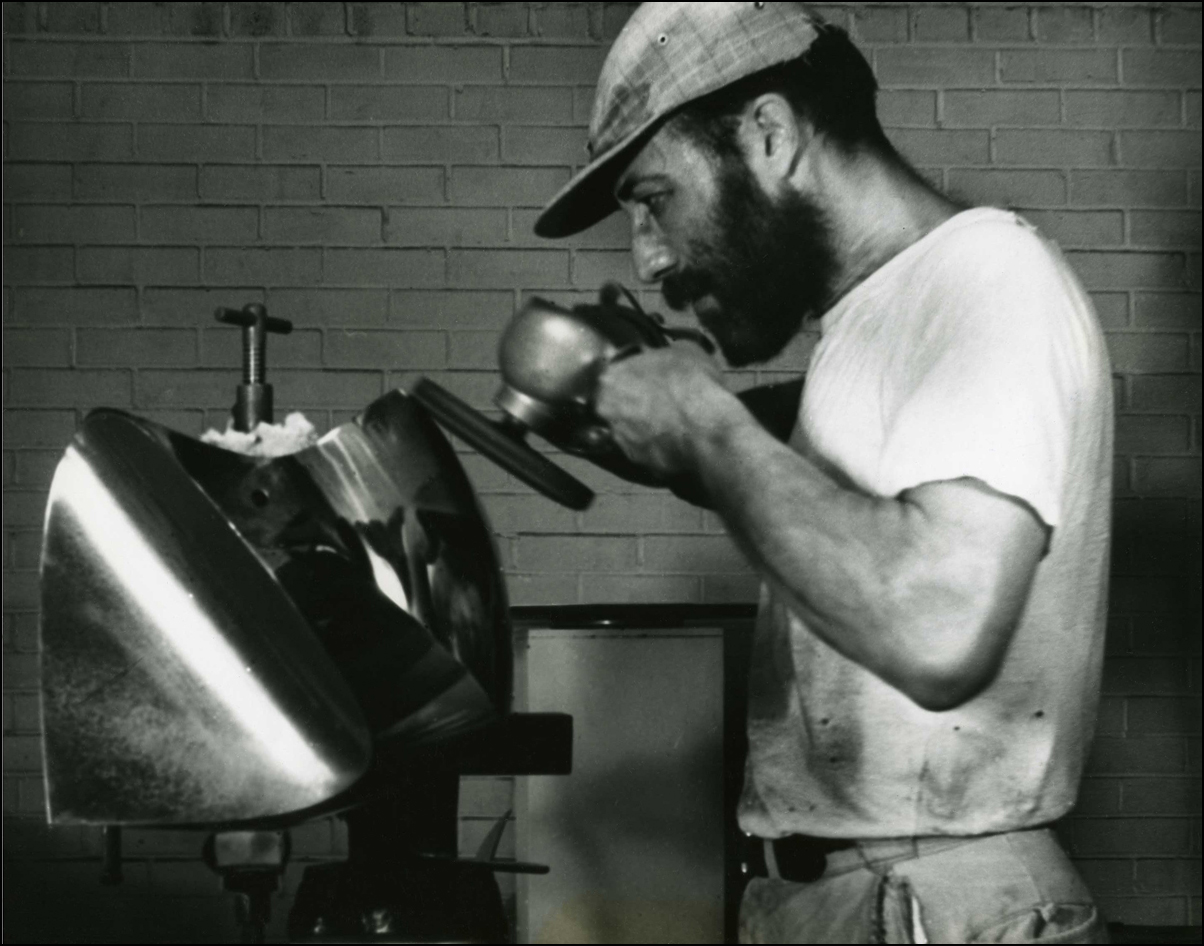 Cutting Stainless Steel with a Bandsaw - 1968  Final Polish of Stainless Steel Sculpture