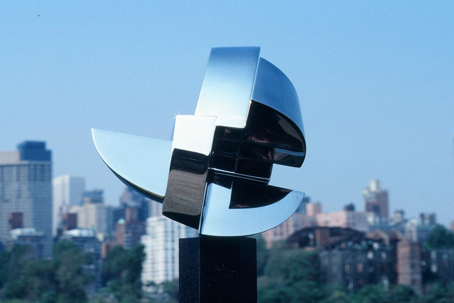 Crystal 2, is 40 inches high and is polished stainless steel