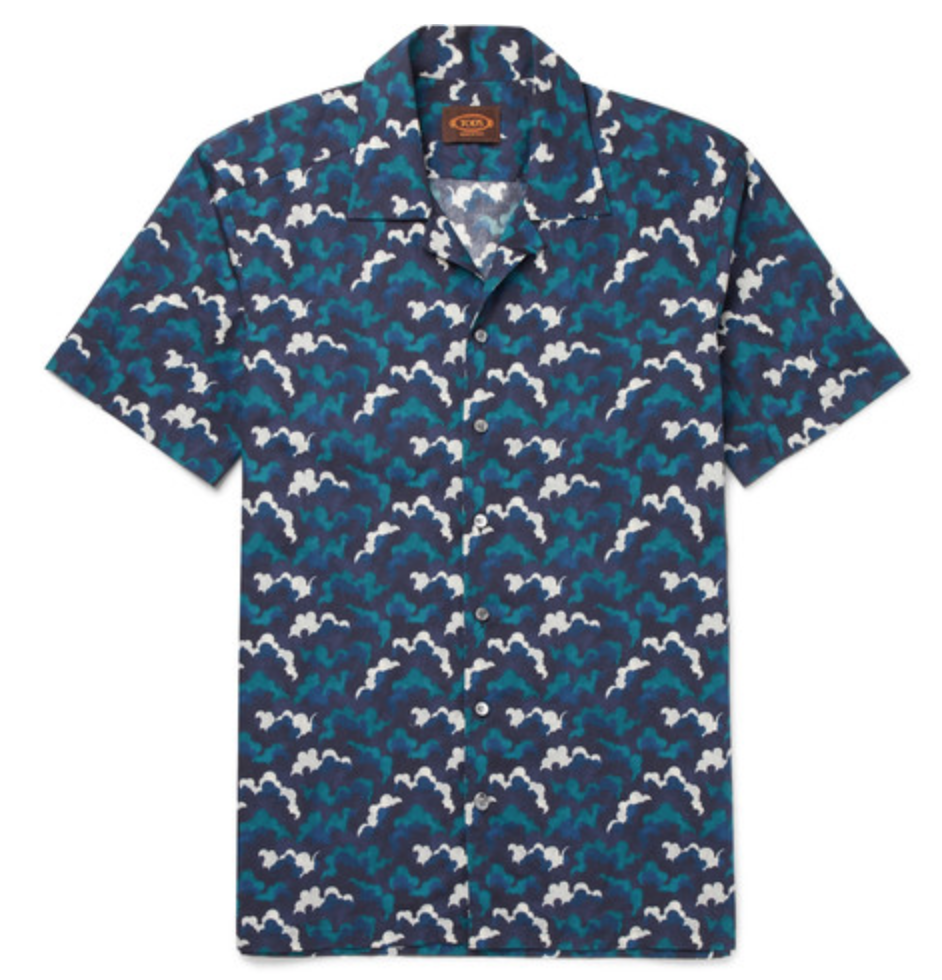 Camp-Collar Printed Cotton-Voile Shirt by Tod's - $350