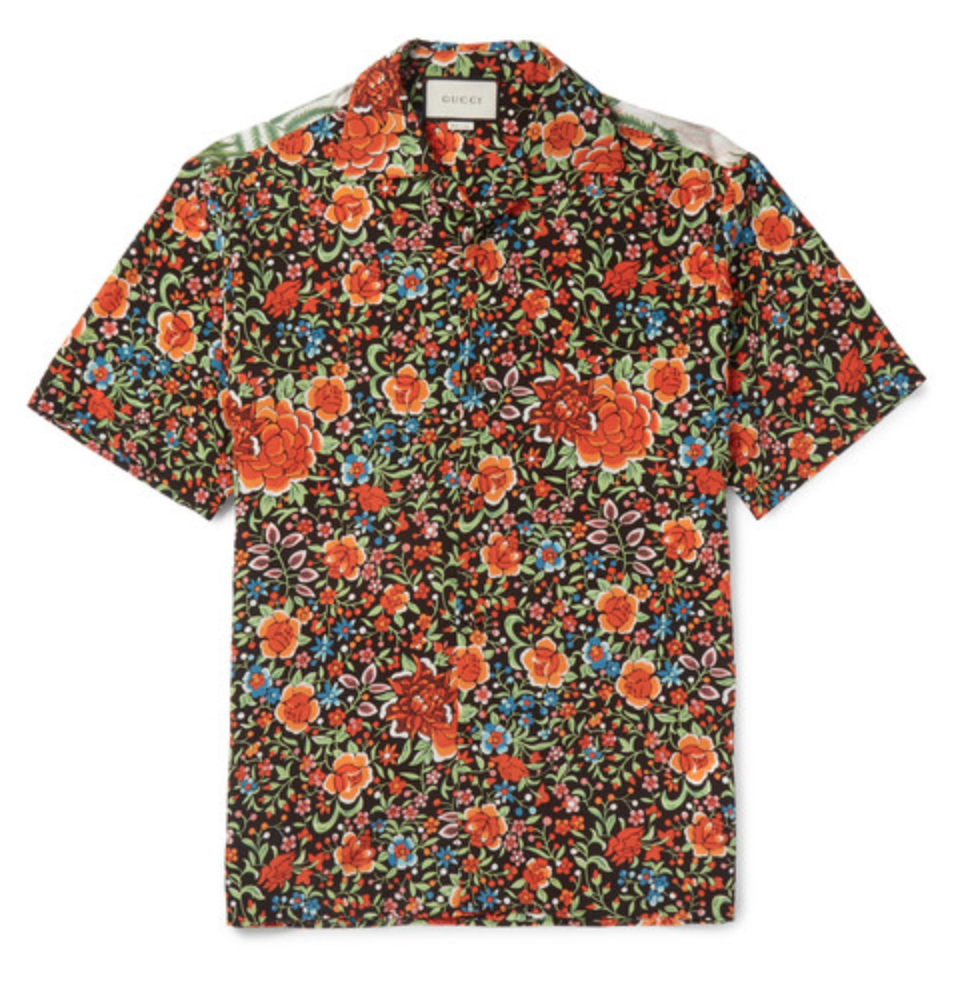Camp-Collar Printed Silk Shirt by Gucci - $870