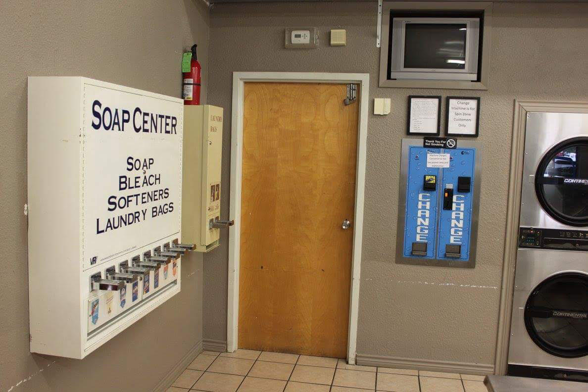 Soap, bleach, softeners, hangers and laundry bag vending