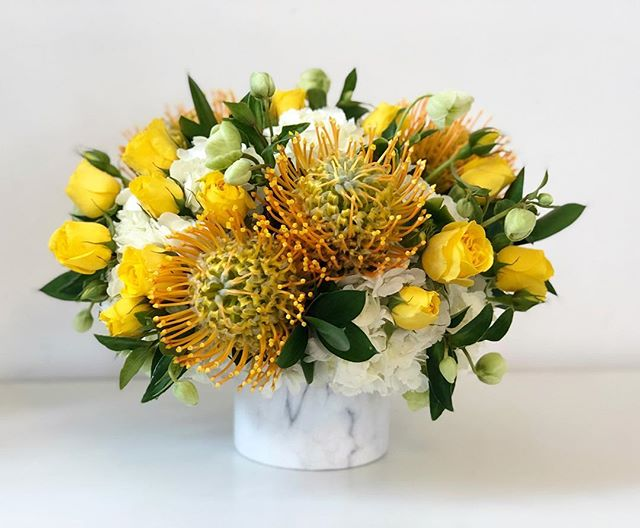 Monday's in July  #yellow #flowers #newbaby #gift #laflorist #losangeles #july #newborn #protea #cute