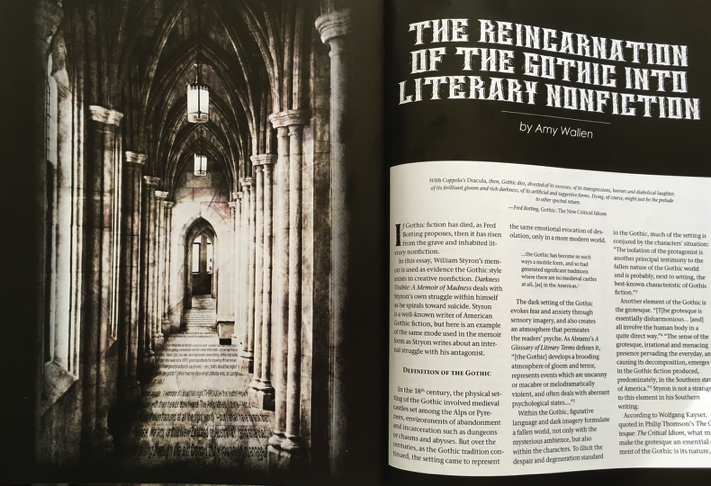 """The Writers Chronicles: """"The Reincarnation of the Gothic into Literary Nonfiction"""" -"""