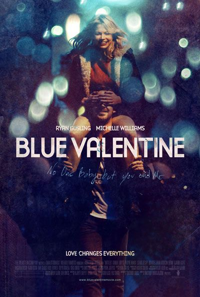 """""""Blue Valentine tells the story of David and Cindy, a couple who have been together for several years but who are at an impasse in their relationship. While Cindy has blossomed into a woman with opportunities and options, David is still the same person he was when they met, and he is unable to accept either Cindy's growth or his lack of."""""""