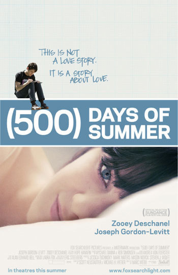 """""""Tom (Joseph Gordon-Levitt), greeting-card writer and hopeless romantic, is caught completely off-guard when his girlfriend, Summer (Zooey Deschanel), suddenly dumps him. He reflects on their 500 days together to try to figure out where their love affair went sour."""""""