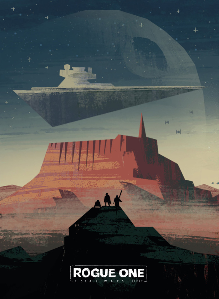 "Artwork by Travis Ruiz    ""Former scientist Galen Erso lives on a farm with his wife and young daughter, Jyn. His peaceful existence comes crashing down when the evil Orson Krennic takes him away from his beloved family. Many years later, Galen becomes the Empire's lead engineer for the most powerful weapon in the galaxy, the Death Star. Knowing that her father holds the key to its destruction, Jyn joins forces with a spy and other resistance fighters to steal the space station's plans for the Rebel Alliance."""