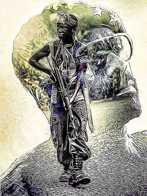 Artwork by Unknown    As civil war rages in Africa, a fierce warlord (Idris Elba) trains a young child (Abraham Attah) to join his group of guerrilla soldiers.