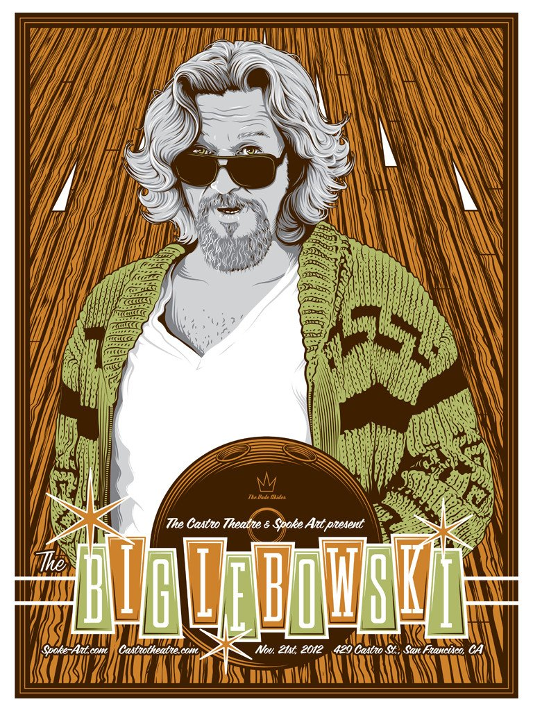 "Artwork by Tracie Ching    ""Jeff Bridges plays Jeff Lebowski who insists on being called ""the Dude,"" a laid-back, easygoing burnout who happens to have the same name as a millionaire whose wife owes a lot of dangerous people a whole bunch of money -- resulting in the Dude having his rug soiled, sending him spiraling into the Los Angeles underworld."""