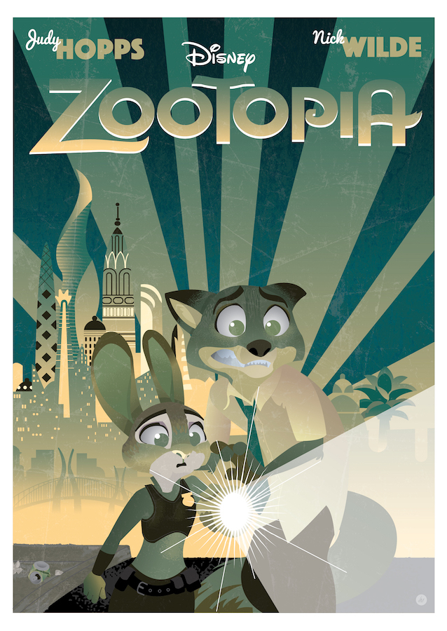 """Art by Joseph Marsh    """"From the largest elephant to the smallest shrew, the city of Zootopia is a mammal metropolis where various animals live and thrive. When Judy Hopps (Ginnifer Goodwin) becomes the first rabbit to join the police force, she quickly learns how tough it is to enforce the law. Determined to prove herself, Judy jumps at the opportunity to solve a mysterious case."""""""